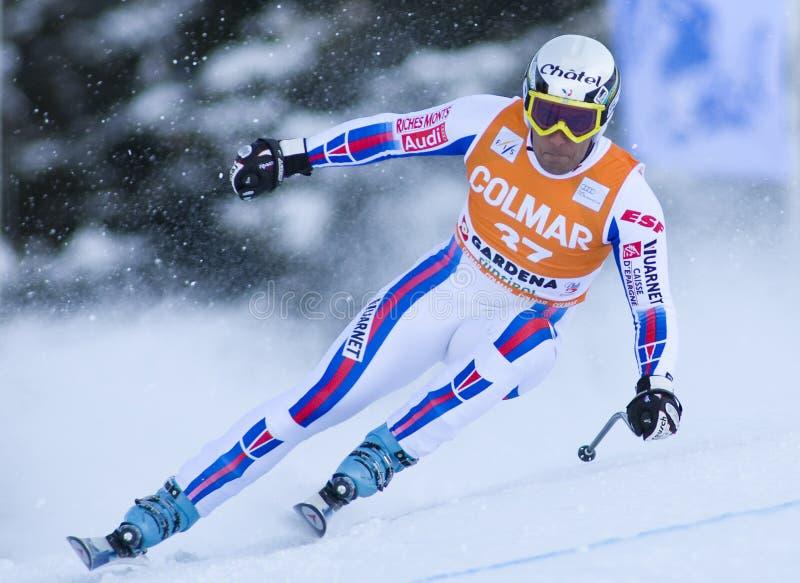 Weltcup des alpinen Skifahrens - abschüssiges Training Val Gardenas stockfotografie