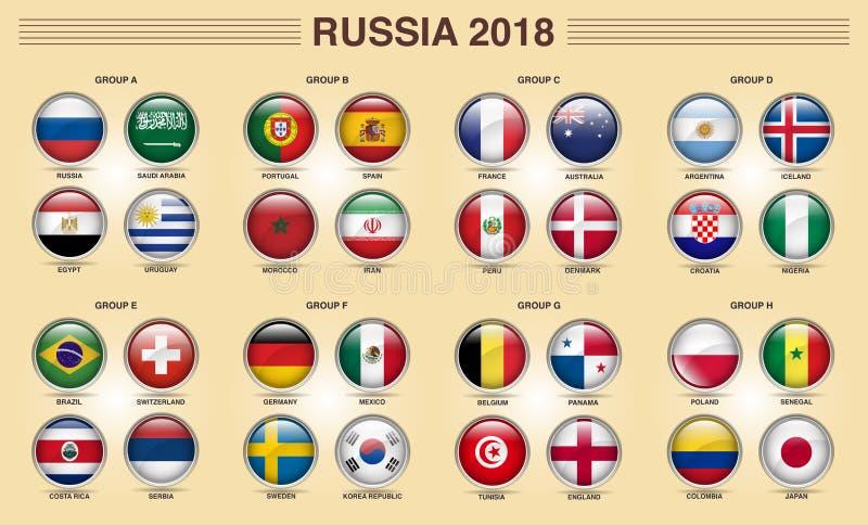 Weltcup-Gruppen-Ikone 2018 Russlands Fifa vektor abbildung