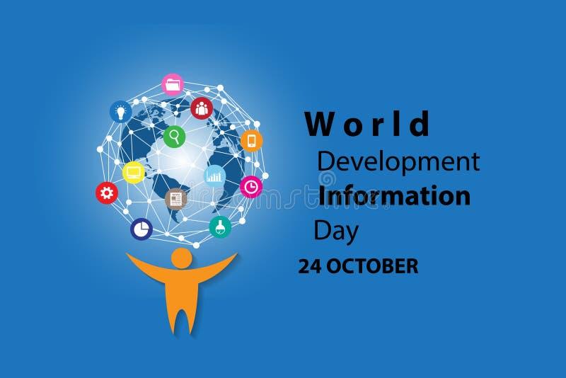 Weltentwicklungs-Informations-Tageshintergrund lizenzfreie abbildung