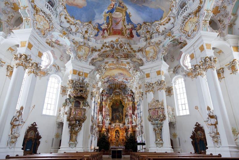 Welterbwand- und -deckenfreskos von wieskirche Kirche im Bayern stockbild