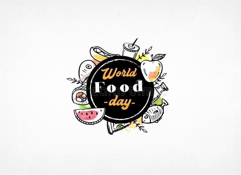 Welternährungstaggrußkarten-Vektorbild Fahne, Plakat, Hintergrund, Flieger, Illustration, Broschüre lizenzfreie abbildung