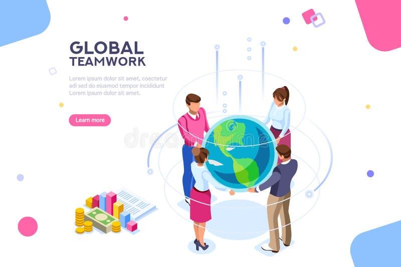 Weltflache Arbeitskraft-Idee, die isometrischen Vektor trifft lizenzfreie abbildung