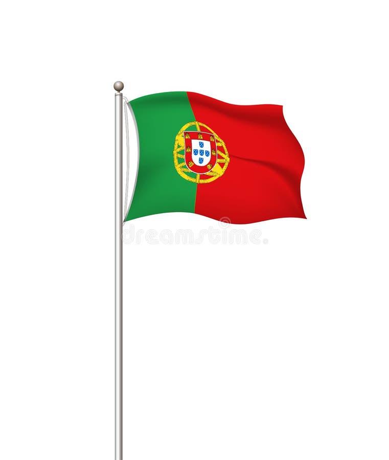 Weltflaggen Transparenter Hintergrund des Landstaatsflagge-Postens portugal Auch im corel abgehobenen Betrag stock abbildung