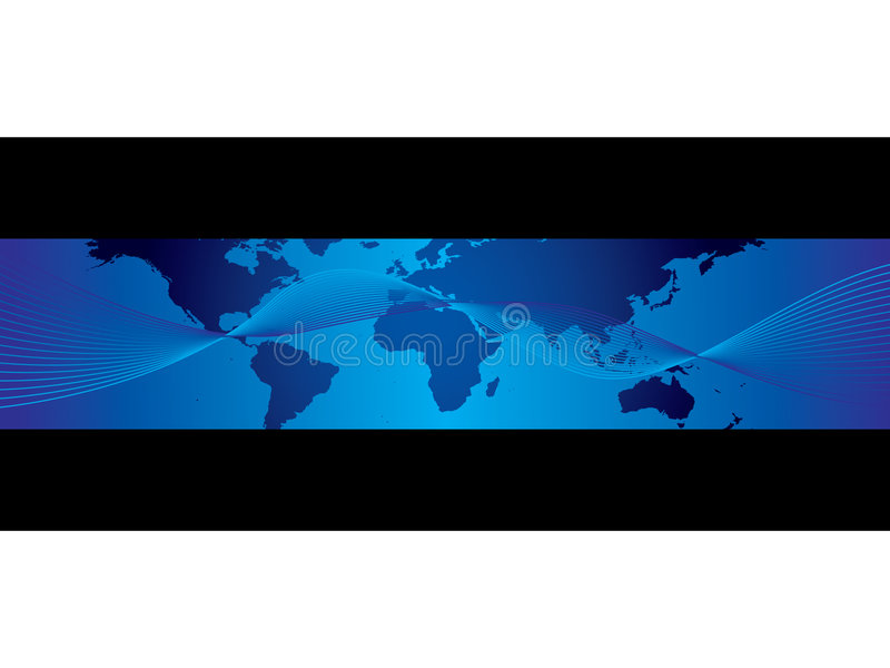 Weltgeschäfts-Kartenfahne stock abbildung