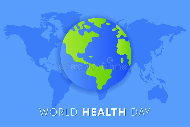 Weltgesundheits-Tag 7. April Die Erdvektor lokalisierte Illustration auf blauem Hintergrund stock abbildung