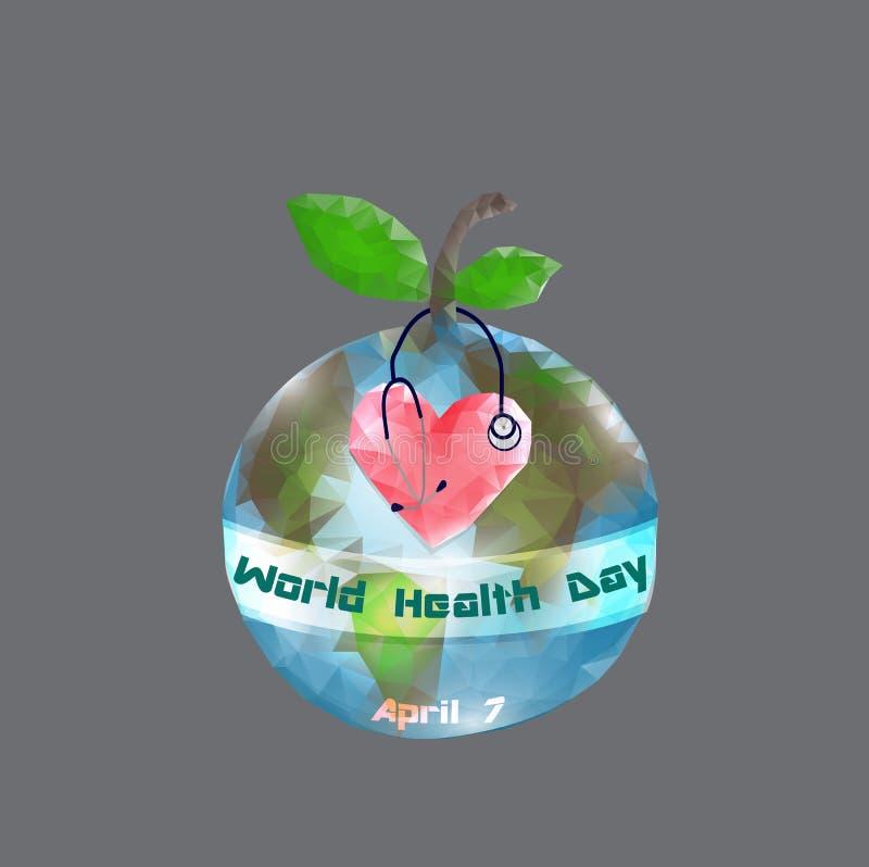 Weltgesundheits-Tag 7. April Kugel Infographics Vektorillustration auf grauem Hintergrund lizenzfreie abbildung