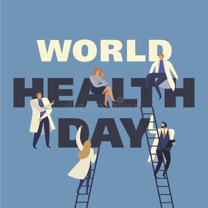Weltgesundheits-Tag am 7. April mit dem Bild von Doktoren Photorealistic Ausschnittskizze stock abbildung