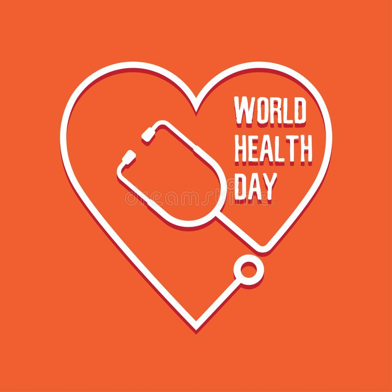Weltgesundheits-Tagesherz und -stethoskop lizenzfreie abbildung