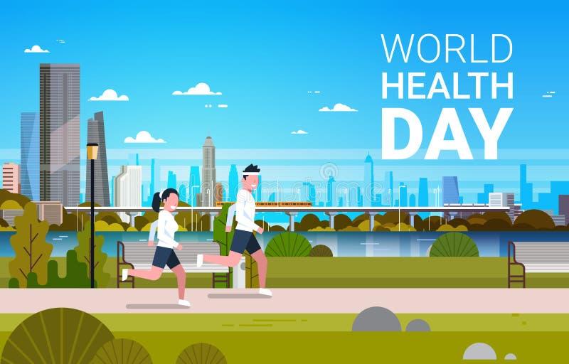 Weltgesundheits-Tageshintergrund mit Mann-und Frauen-rüttelnder Gesundheitswesen-und Sport-Feiertags-Fahne stock abbildung