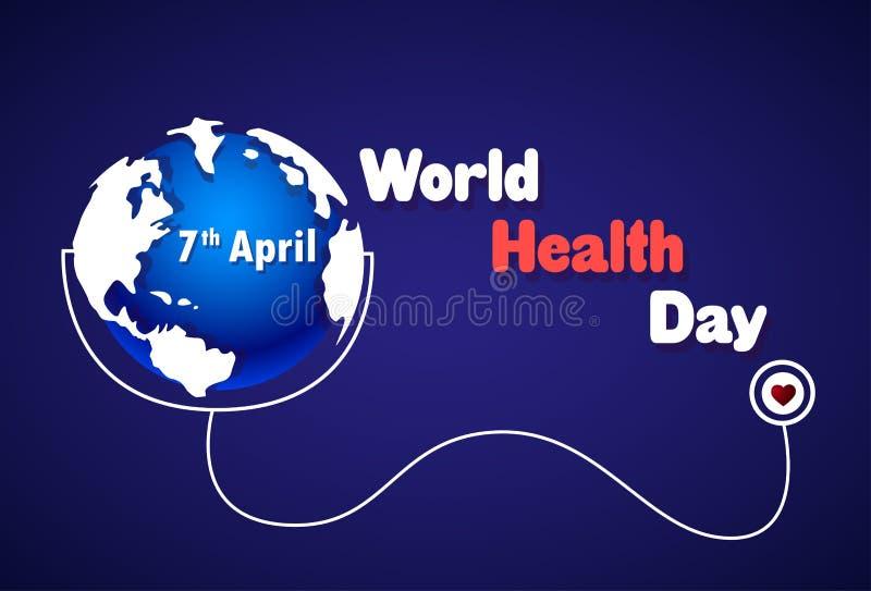 Weltgesundheits-Tagesplakat-Erde mit Stethoskop auf blauem Hintergrund 7 April Holiday Banner vektor abbildung
