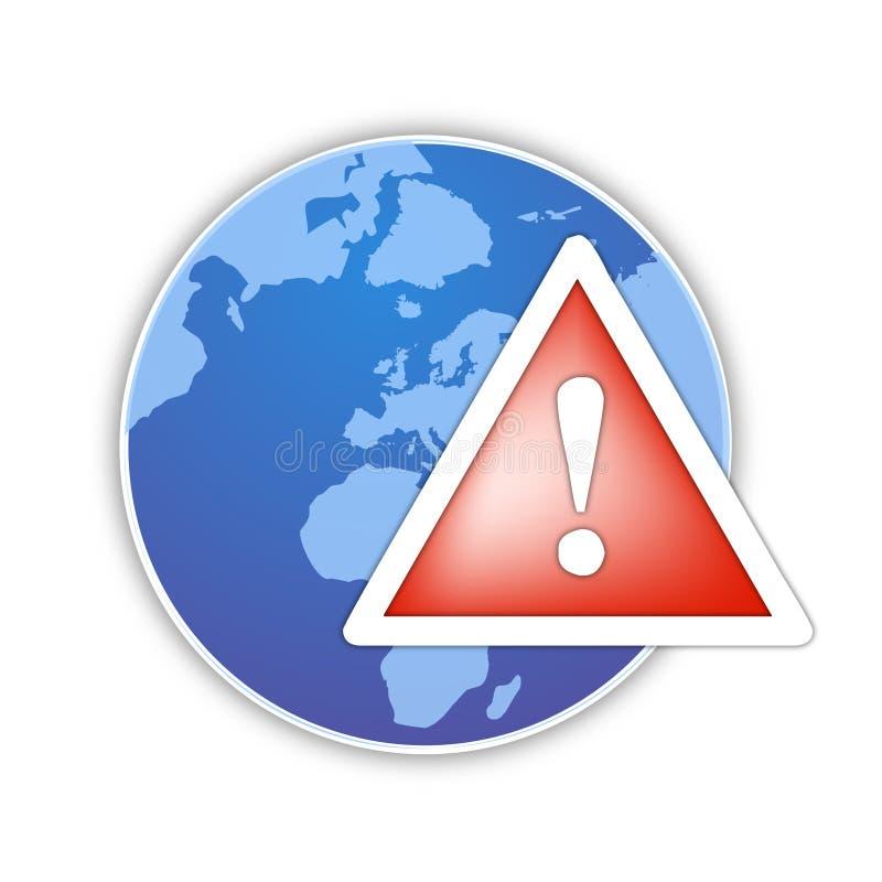 Weltglobaler Alarmikonenvektor lizenzfreie abbildung