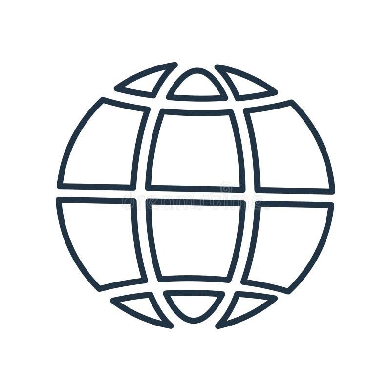 Weltikonenvektor lokalisiert auf weißem Hintergrund, Weltzeichen stock abbildung