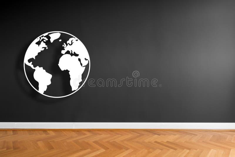 Weltillustration/Erdgraphik auf Wandhintergrund im leeren Raum stock abbildung