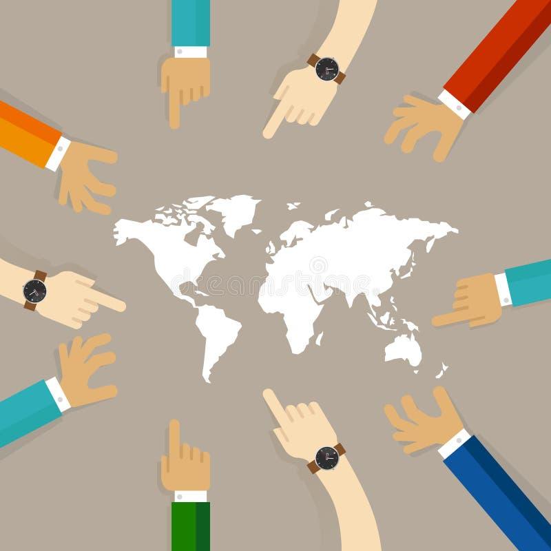 Weltkarte übergibt zusammen des Konzeptes des internationalen Verhältnisses temwork Zusammenarbeit zwischen Länder zusammen zeige lizenzfreie abbildung