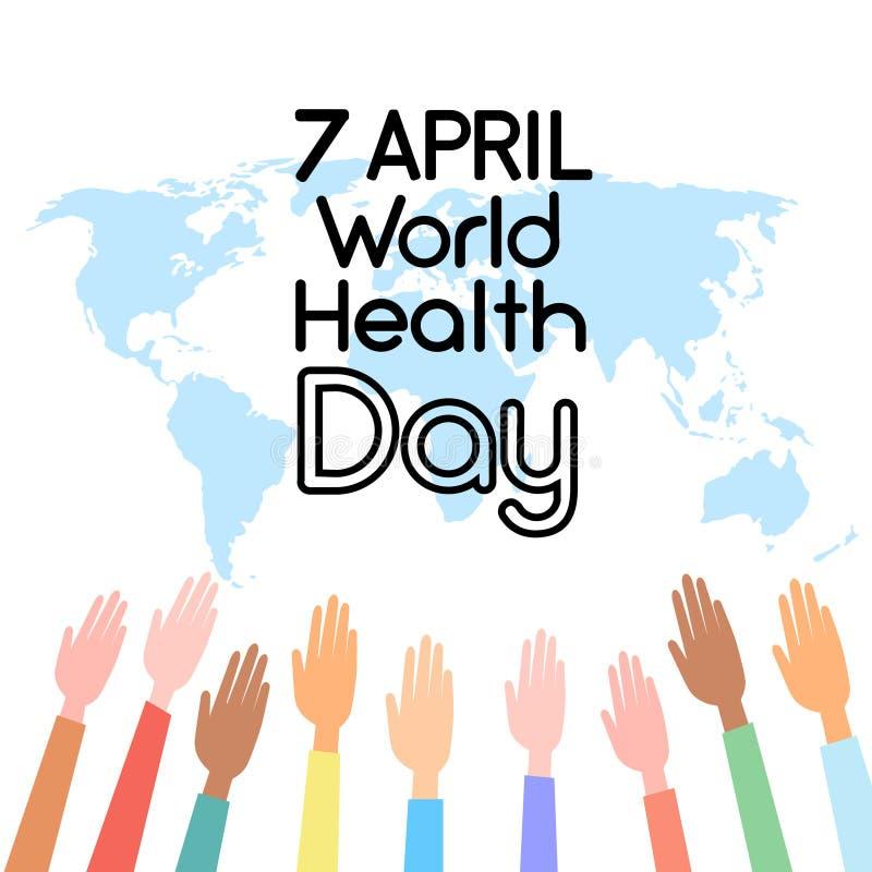 Weltkarte angehoben herauf Handgesundheits-Tag lizenzfreie abbildung