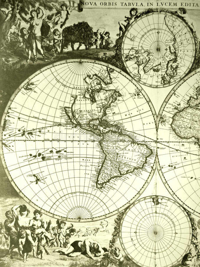 Weltkarte, Antike stockbild