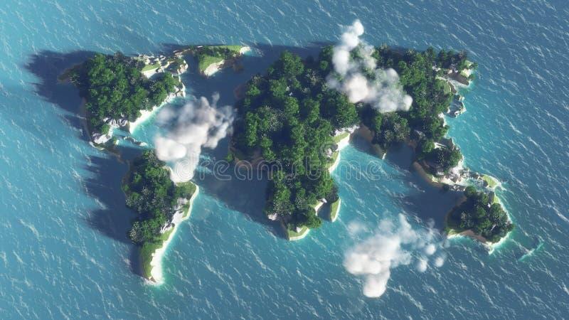 Weltkarte auf dem Wasser, Insel mit Bäumen und Wolken lizenzfreie stockfotos