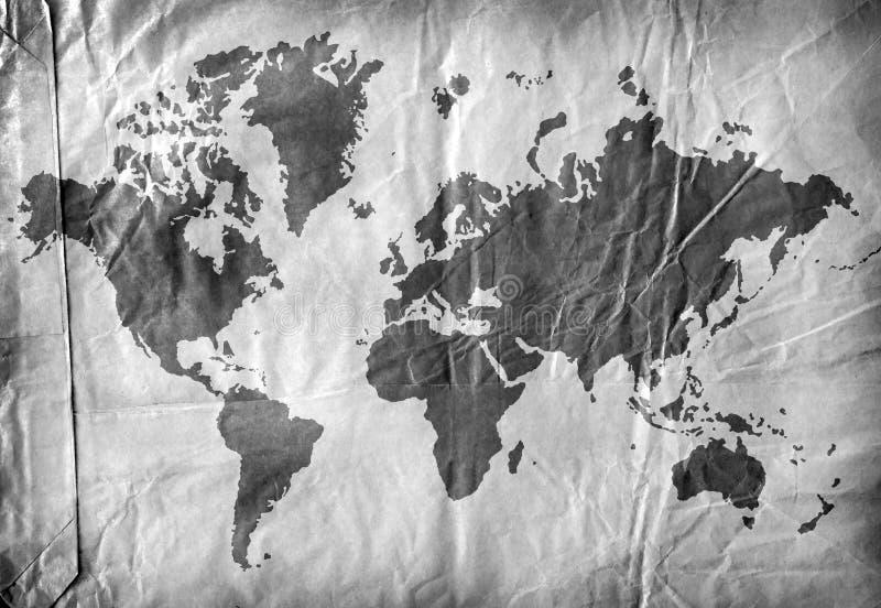 Weltkarte auf gealtertem Papier vektor abbildung
