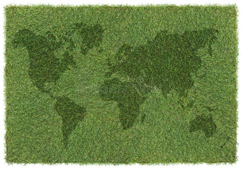 Weltkarte auf Gras stockbild