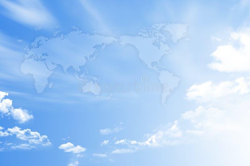 Weltkarte auf Himmel lizenzfreies stockbild