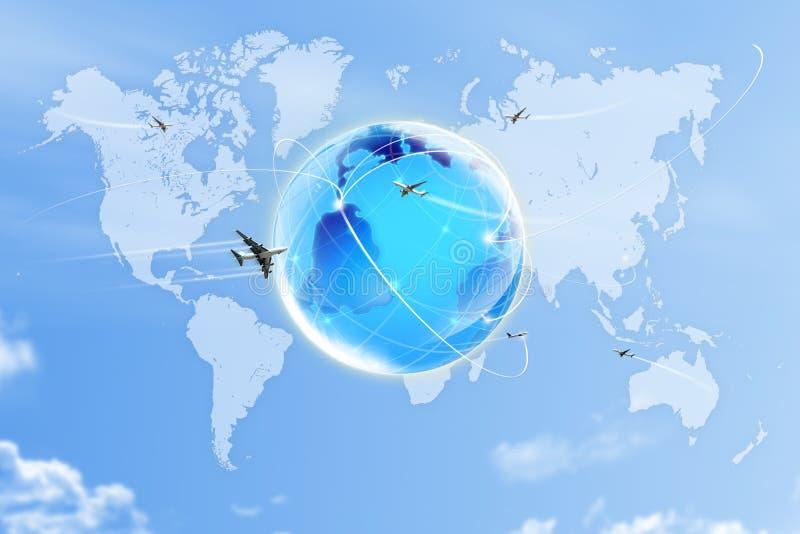 Weltkarte auf Himmel stockfoto