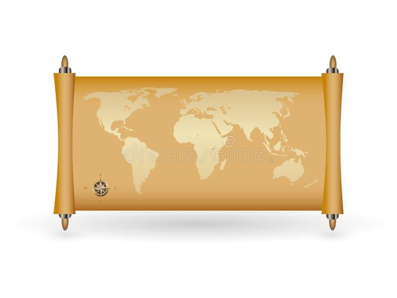 Weltkarte auf papirus mit Goldfülle vektor abbildung