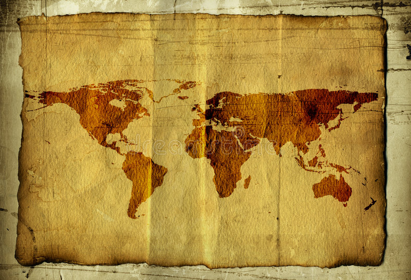 Weltkarte auf Pergament lizenzfreies stockfoto