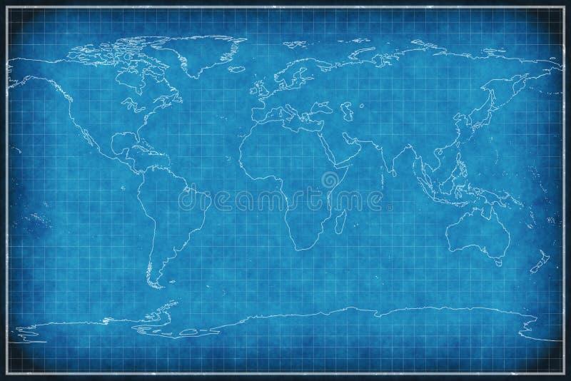 Weltkarte auf Plan. vektor abbildung