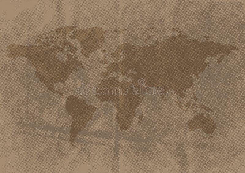 Weltkarte auf zerknittertem Papier vektor abbildung