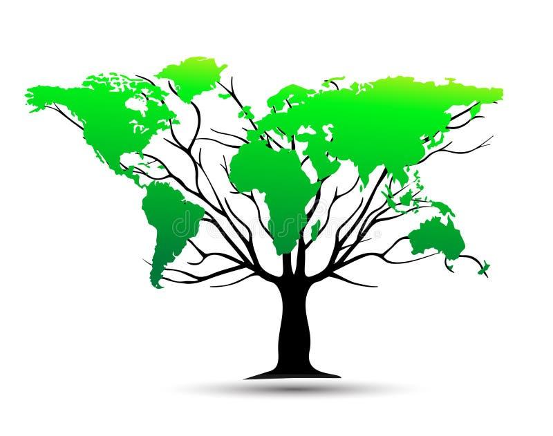 Weltkarte-Baum stock abbildung