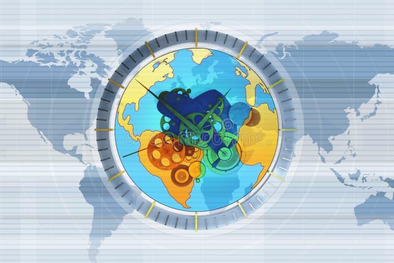 Weltkarte Borduhr vektor abbildung
