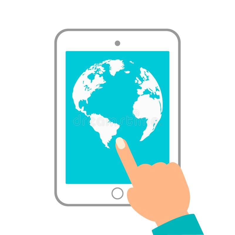 Weltkarte in den Punkten Tablette in den Händen auf weißem Hintergrund lizenzfreie abbildung