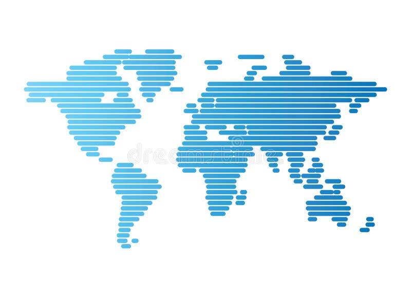 Weltkarte der blauen aufgerundeten Zeilen stock abbildung