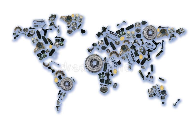 Weltkarte der Ersatzteile für Shopauto stockfotos
