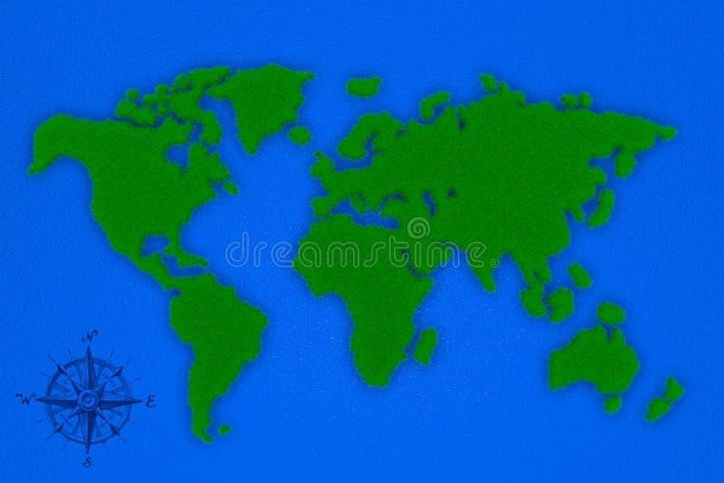 Weltkarte der Wiedergabe 3d des Grases stock abbildung