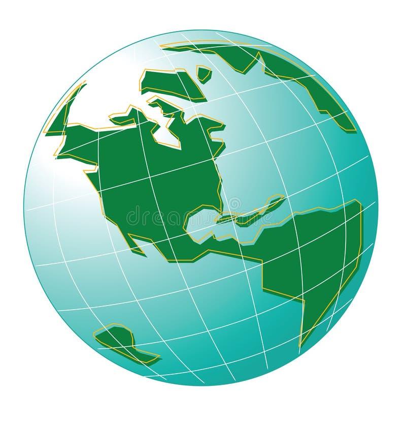 Weltkarte des grünen und blauen Himmels vektor abbildung