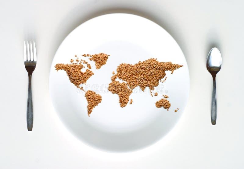 Weltkarte des Kornes auf Platte vektor abbildung