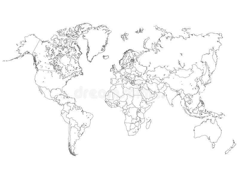 Weltkarte-Entwurfs-Illustration auf einem weißen Hintergrund vektor abbildung