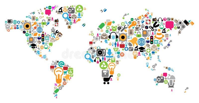 Weltkarte gebildet von den Ikonen lizenzfreie abbildung