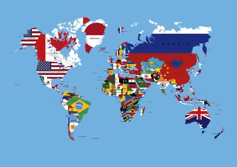 Weltkarte gefärbt in den Land-Flaggen u. den Namen lizenzfreie abbildung