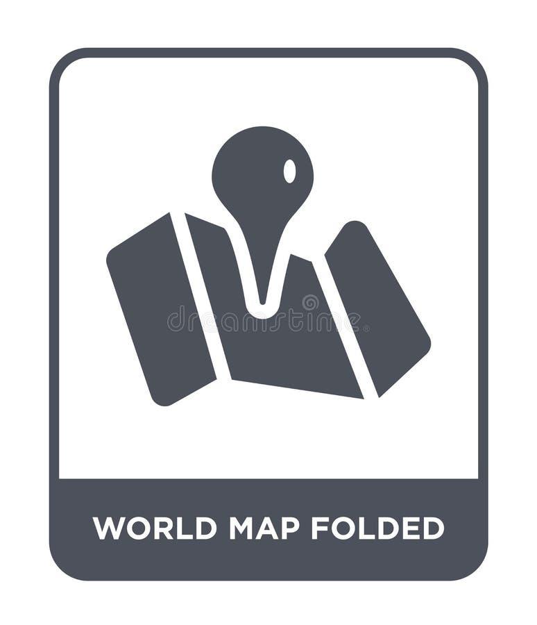 Weltkarte gefaltete Ikone in der modischen Entwurfsart Weltkarte faltete die Ikone, die auf weißem Hintergrund lokalisiert wurde  lizenzfreie abbildung