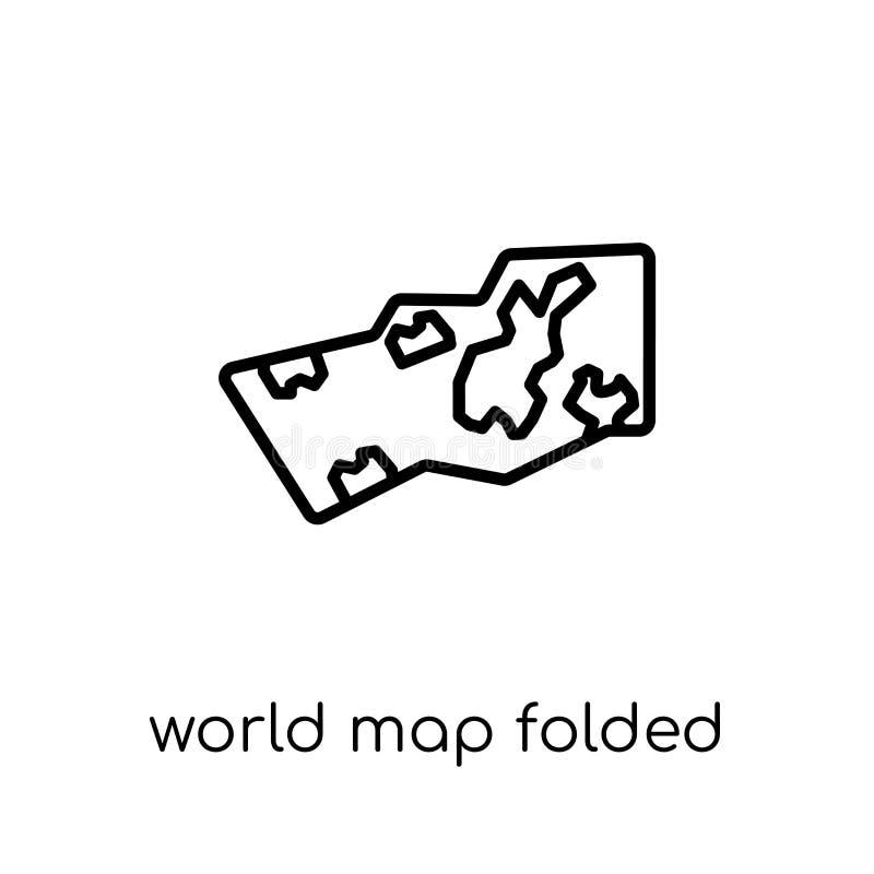 Weltkarte gefaltete Ikone Modische moderne flache lineare Vektor Welt MA stock abbildung