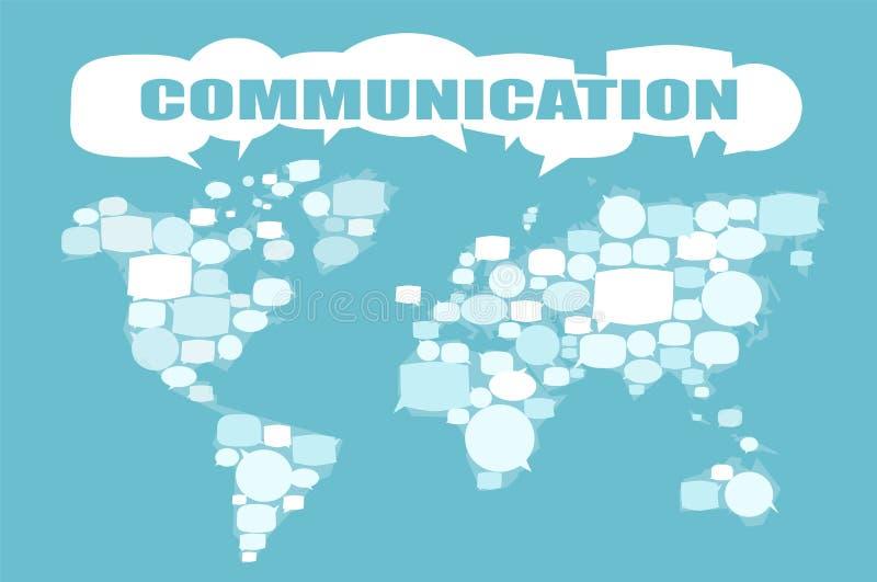 Weltkarte gemacht von den Spracheblasen stock abbildung
