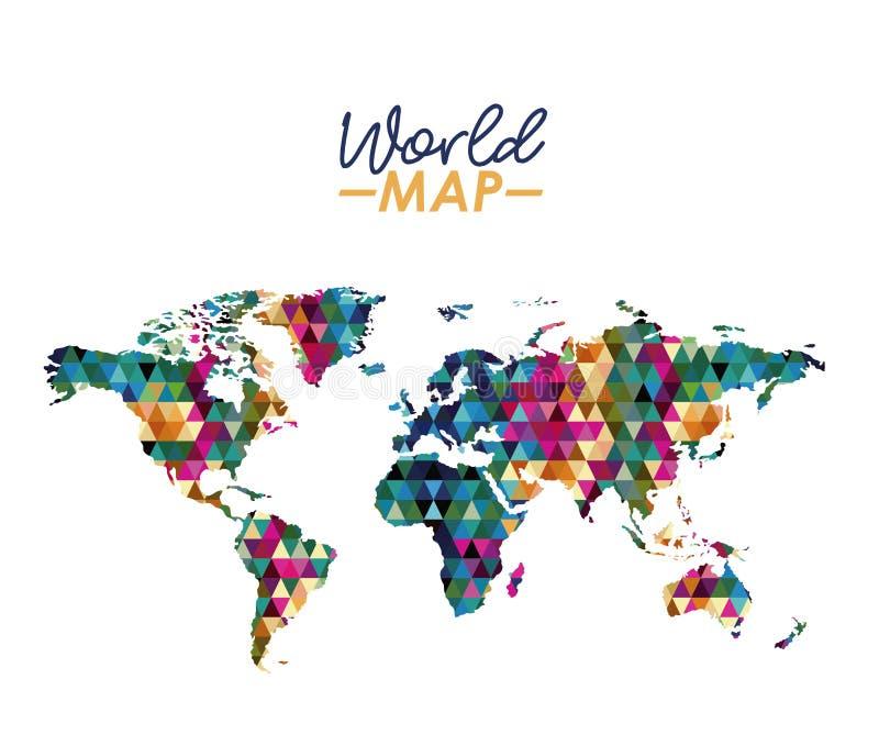 Weltkarte im geometrischen bunten Formschattenbild stock abbildung
