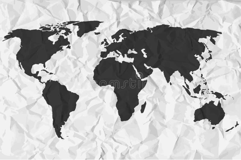 Weltkarte im Schwarzen auf einem Hintergrund zerknitterte Papier lizenzfreie abbildung