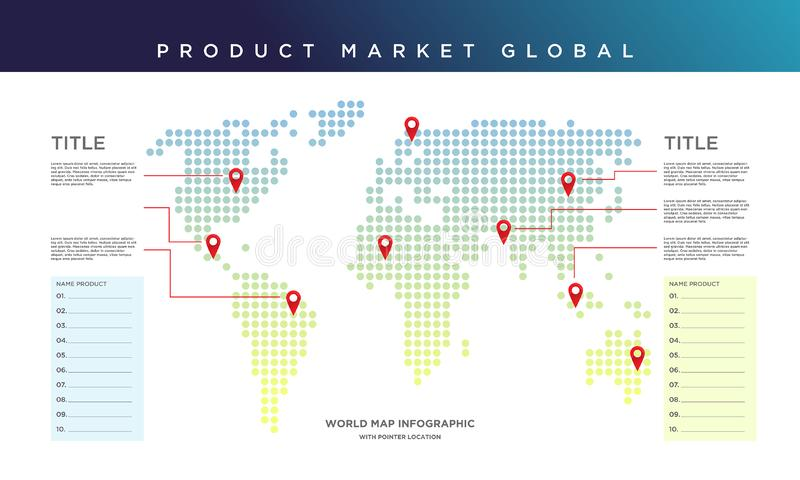 Weltkarte infographic Produktmarkt global lizenzfreie abbildung