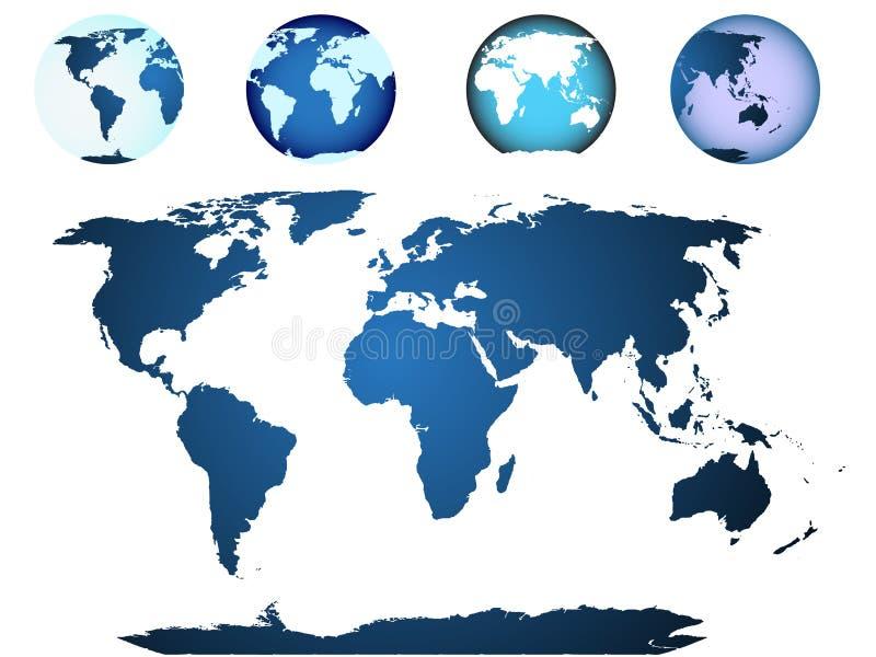 Weltkarte, Kugel dargestellt stock abbildung