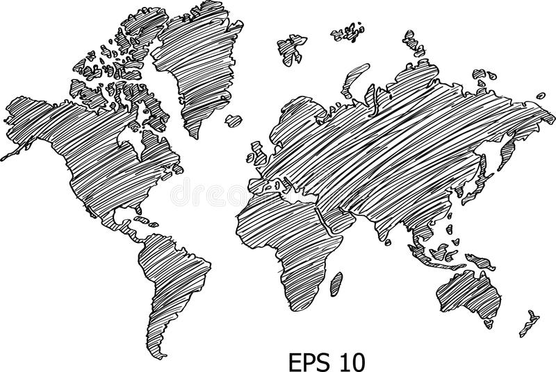 Weltkarte-Kugel-Vektorlinie Skizze herauf Illustrator vektor abbildung