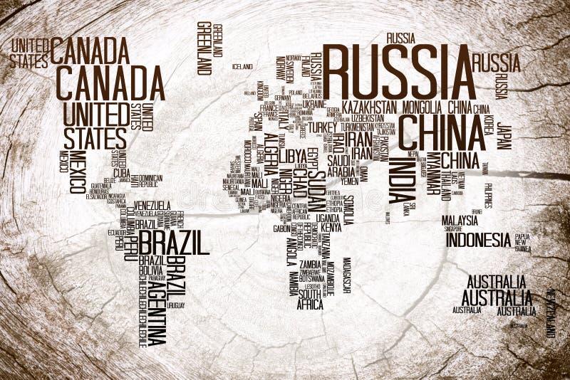 Weltkarte-Ländername auf Bauholz stock abbildung