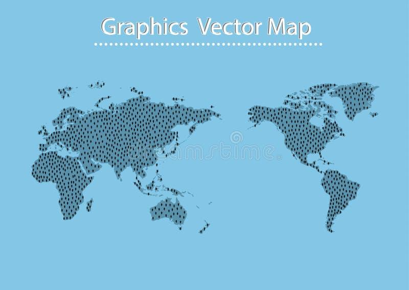 Weltkarte-Mannikone stock abbildung